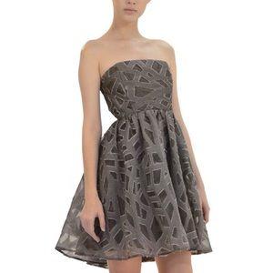 Alice + Olivia Kristin Silk Wool Strapless Dress